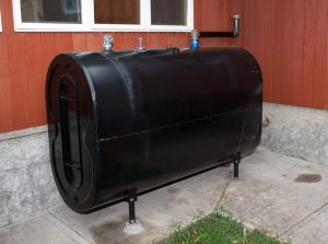 Home heating above ground oil storage tank.